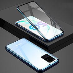 Handyhülle Hülle Luxus Aluminium Metall Rahmen Spiegel 360 Grad Tasche T02 für Samsung Galaxy S20 Ultra 5G Blau