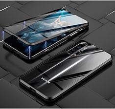 Handyhülle Hülle Luxus Aluminium Metall Rahmen Spiegel 360 Grad Tasche T03 für Huawei Honor 20 Pro Schwarz