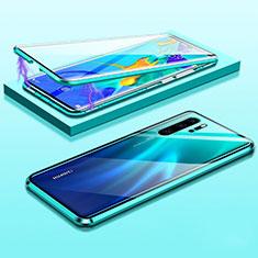 Handyhülle Hülle Luxus Aluminium Metall Rahmen Spiegel 360 Grad Tasche T03 für Huawei P30 Pro Grün