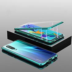 Handyhülle Hülle Luxus Aluminium Metall Rahmen Spiegel 360 Grad Tasche T04 für Huawei P30 Grün