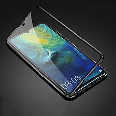 Handyhülle Hülle Luxus Aluminium Metall Rahmen Spiegel 360 Grad Tasche T05 für Huawei Mate 20 Schwarz