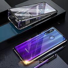 Handyhülle Hülle Luxus Aluminium Metall Rahmen Spiegel 360 Grad Tasche T06 für Huawei Honor 20 Lite Schwarz
