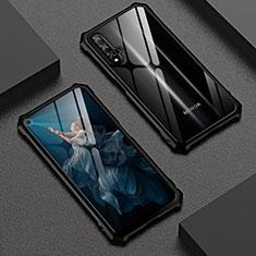 Handyhülle Hülle Luxus Aluminium Metall Rahmen Spiegel 360 Grad Tasche T06 für Huawei Honor 20 Schwarz