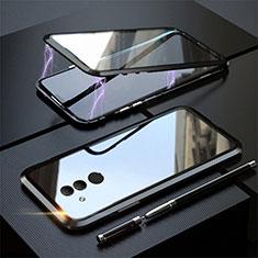 Handyhülle Hülle Luxus Aluminium Metall Rahmen Spiegel 360 Grad Tasche T06 für Huawei Mate 20 Lite Schwarz