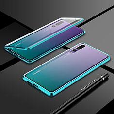 Handyhülle Hülle Luxus Aluminium Metall Rahmen Spiegel 360 Grad Tasche T06 für Huawei P20 Pro Grün