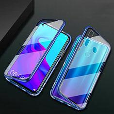 Handyhülle Hülle Luxus Aluminium Metall Rahmen Spiegel 360 Grad Tasche T06 für Huawei P30 Lite XL Blau