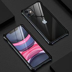 Handyhülle Hülle Luxus Aluminium Metall Rahmen Spiegel 360 Grad Tasche T07 für Apple iPhone 11 Schwarz