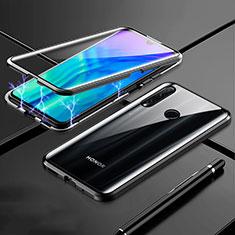 Handyhülle Hülle Luxus Aluminium Metall Rahmen Spiegel 360 Grad Tasche T07 für Huawei Honor 20 Lite Schwarz