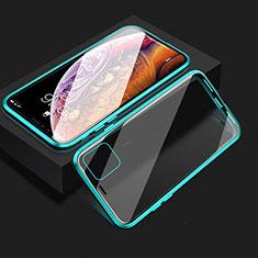 Handyhülle Hülle Luxus Aluminium Metall Rahmen Spiegel 360 Grad Tasche T08 für Apple iPhone 11 Cyan