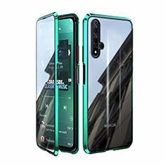 Handyhülle Hülle Luxus Aluminium Metall Rahmen Spiegel 360 Grad Tasche T08 für Huawei Honor 20 Grün