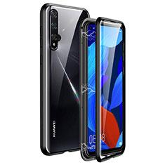 Handyhülle Hülle Luxus Aluminium Metall Rahmen Spiegel 360 Grad Tasche T11 für Huawei Honor 20 Schwarz