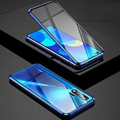 Handyhülle Hülle Luxus Aluminium Metall Rahmen Spiegel 360 Grad Tasche Z01 für Huawei Nova 6 Blau