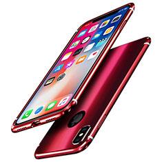 Handyhülle Hülle Luxus Aluminium Metall Rahmen Spiegel Tasche A01 für Apple iPhone X Rot