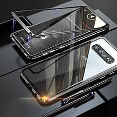 Handyhülle Hülle Luxus Aluminium Metall Rahmen Spiegel Tasche A01 für Samsung Galaxy S10 Plus Schwarz