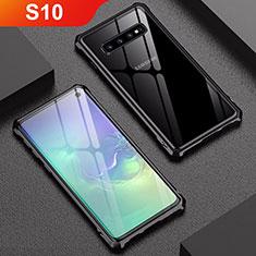 Handyhülle Hülle Luxus Aluminium Metall Rahmen Spiegel Tasche A01 für Samsung Galaxy S10 Schwarz