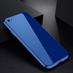 Handyhülle Hülle Luxus Aluminium Metall Rahmen Spiegel Tasche für Apple iPhone 6S Plus Blau