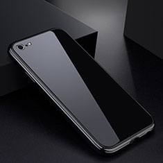 Handyhülle Hülle Luxus Aluminium Metall Rahmen Spiegel Tasche für Apple iPhone 6S Schwarz