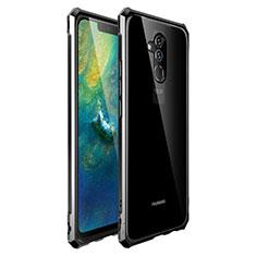 Handyhülle Hülle Luxus Aluminium Metall Rahmen Spiegel Tasche für Huawei Mate 20 Lite Schwarz