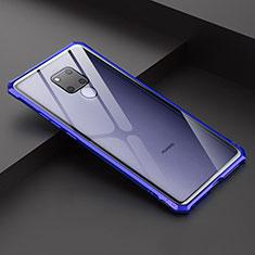 Handyhülle Hülle Luxus Aluminium Metall Rahmen Spiegel Tasche für Huawei Mate 20 X 5G Blau
