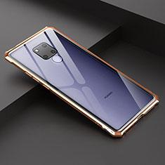 Handyhülle Hülle Luxus Aluminium Metall Rahmen Spiegel Tasche für Huawei Mate 20 X 5G Gold