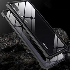 Handyhülle Hülle Luxus Aluminium Metall Rahmen Spiegel Tasche für Huawei P20 Schwarz
