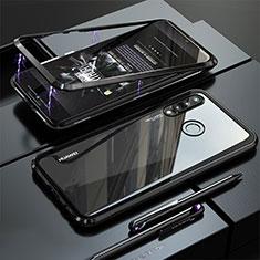 Handyhülle Hülle Luxus Aluminium Metall Rahmen Spiegel Tasche für Huawei P30 Lite Schwarz