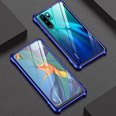 Handyhülle Hülle Luxus Aluminium Metall Rahmen Spiegel Tasche für Huawei P30 Pro Blau