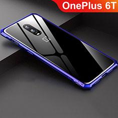 Handyhülle Hülle Luxus Aluminium Metall Rahmen Spiegel Tasche für OnePlus 6T Blau