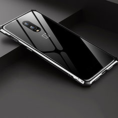 Handyhülle Hülle Luxus Aluminium Metall Rahmen Spiegel Tasche für OnePlus 6T Silber
