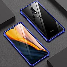 Handyhülle Hülle Luxus Aluminium Metall Rahmen Spiegel Tasche für OnePlus 7 Blau