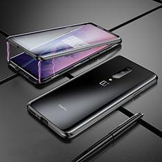 Handyhülle Hülle Luxus Aluminium Metall Rahmen Spiegel Tasche für OnePlus 7 Pro Schwarz