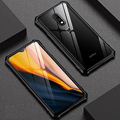 Handyhülle Hülle Luxus Aluminium Metall Rahmen Spiegel Tasche für OnePlus 7 Schwarz