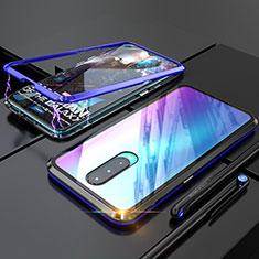 Handyhülle Hülle Luxus Aluminium Metall Rahmen Spiegel Tasche für Oppo R17 Pro Blau