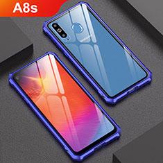 Handyhülle Hülle Luxus Aluminium Metall Rahmen Spiegel Tasche für Samsung Galaxy A8s SM-G8870 Blau