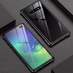 Handyhülle Hülle Luxus Aluminium Metall Rahmen Spiegel Tasche für Samsung Galaxy S10 Plus Schwarz
