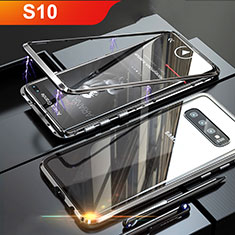 Handyhülle Hülle Luxus Aluminium Metall Rahmen Spiegel Tasche für Samsung Galaxy S10 Schwarz