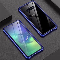 Handyhülle Hülle Luxus Aluminium Metall Rahmen Spiegel Tasche für Samsung Galaxy S10e Blau