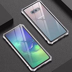 Handyhülle Hülle Luxus Aluminium Metall Rahmen Spiegel Tasche für Samsung Galaxy S10e Silber