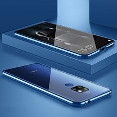 Handyhülle Hülle Luxus Aluminium Metall Rahmen Spiegel Tasche M01 für Huawei Mate 20 Blau