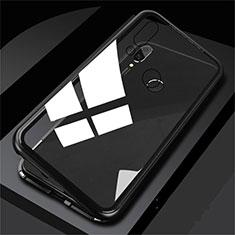 Handyhülle Hülle Luxus Aluminium Metall Rahmen Spiegel Tasche M01 für Huawei P Smart (2019) Schwarz