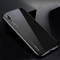 Handyhülle Hülle Luxus Aluminium Metall Rahmen Spiegel Tasche M01 für Huawei P20 Schwarz