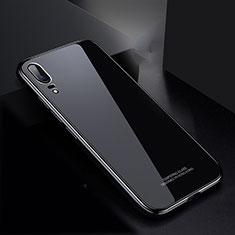 Handyhülle Hülle Luxus Aluminium Metall Rahmen Spiegel Tasche M02 für Huawei P20 Schwarz