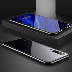 Handyhülle Hülle Luxus Aluminium Metall Rahmen Spiegel Tasche M02 für Huawei P30 Schwarz