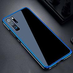 Handyhülle Hülle Luxus Aluminium Metall Rahmen Spiegel Tasche M03 für Huawei P30 Pro Blau