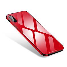 Handyhülle Hülle Luxus Aluminium Metall Rahmen Spiegel Tasche S01 für Apple iPhone Xs Max Rot