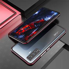 Handyhülle Hülle Luxus Aluminium Metall Rahmen Tasche A01 für Vivo X50 5G Rot und Schwarz