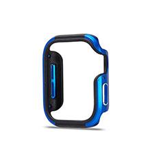 Handyhülle Hülle Luxus Aluminium Metall Rahmen Tasche für Apple iWatch 5 44mm Blau und Schwarz