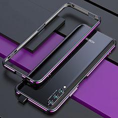 Handyhülle Hülle Luxus Aluminium Metall Rahmen Tasche für Huawei Honor 9X Pro Violett und Schwarz