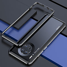 Handyhülle Hülle Luxus Aluminium Metall Rahmen Tasche für Huawei Mate 30 Schwarz