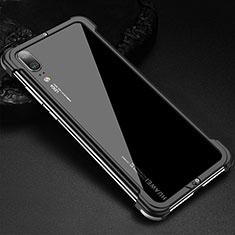Handyhülle Hülle Luxus Aluminium Metall Rahmen Tasche für Huawei P20 Schwarz